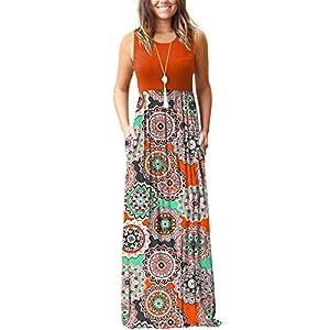MOLERANI Women's Loose Floral Print Maxi Dresses Casual Long Dresses with Pockets