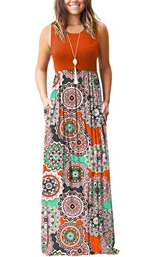 MOLERANI Women's Casual Tank Top Long Dress Sleeveless Floral Print Maxi Dresses Orange Round Flora S