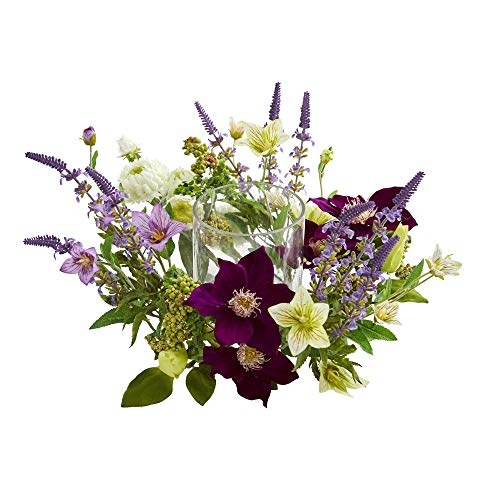 - Nearly Natural 4329 Mixed Floral Artificial Candelabrum Silk Arrangements Purple
