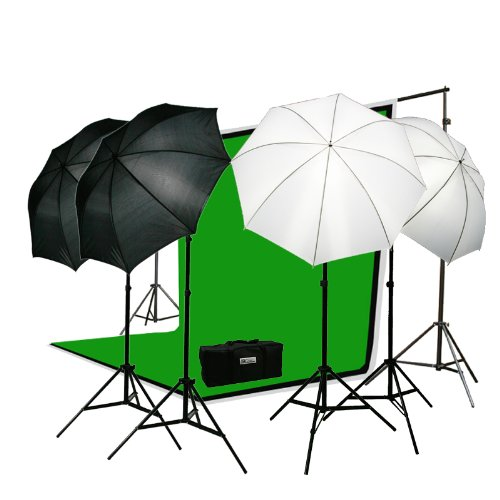 ePhoto Premium Portrait Photography Studio Video Lighting Kit with 3 Chromakey Black, White, Green Muslin Supporting Background Stand System Case by ePhotoInc H4045 by ePhoto