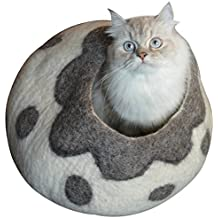 Earthtone Solutions Best Cat Cave Bed, Gray White Handmade Natural Felted Merino Wool, Large Covered Cozy Cocoon, Indoor Hideaway Igloo House, Also Perfect Kitten Gift. Bonus Catnip, By (Cozy Pueblo)