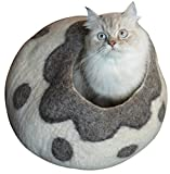 Earthtone Solutions Cat Cave Bed - Gray White Handmade Natural Felted Merino Wool - Large Covered Cozy Cocoon - Indoor Hideaway Igloo House - Also Perfect Kitten Gift. Bonus Catnip (Cozy Pueblo)