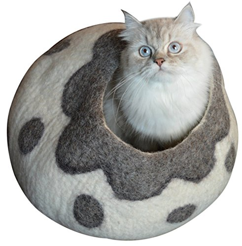 Best Cat Cave Bed, Unique Handmade Natural Felted Merino Wool, Large Covered and Cozy, Also Perfect Gift for Kittens, Includes Bonus Catnip, Original Cat Caves, By Earthtone Solutions (Cozy Pueblo)