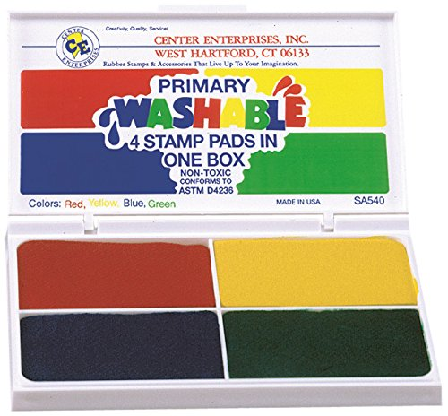 Primary Ink - Center Enterprise SA540 Washable Primary Stamp Pad, 4 Colors IN