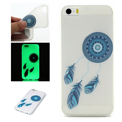 PowerQ Nachtleuchtende Serie Bunte Muster TPU Fall Hülle Case < Blue feather Campanula - für IPhoneSE IPhone 5S SE 5 5G IPhone5S IPhone5 >        Noctilucent Luminous Licht in dunklen Pattern Muster Druck De
