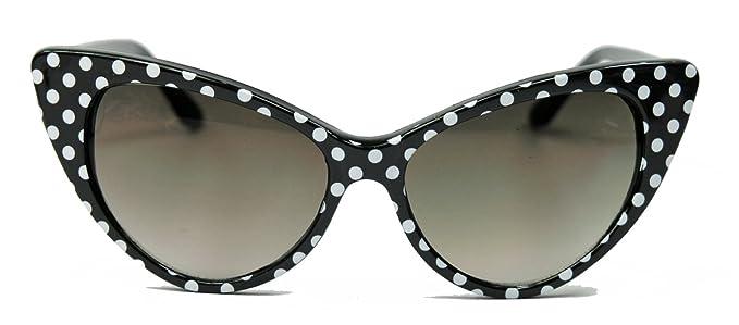 5477e82aec Er jahre damen retro sonnenbrille cat eye katzenaugen rockabilly modell  farbwahl ke black polka dots bekleidung
