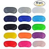 Wobe 30 pcs Colorful Eye Mask Cover, Sleep Mask with Nose Pad and Elastic Straps Comfortable Lightweight Blindfold Eyeshade Eyepatch for Kids Women Men for Travel Sleep or Party Supplies Game 15 Color