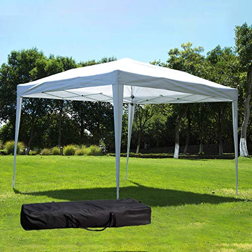 (NsDirect 10 x10 ft Outdoor Party Tent EZ Easy Pop Up with Carrying Case/Bag Portable Adjustable Folding Canopy Gazebo Pavilion Wedding Patio Shelter (White))