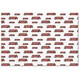 Large Wall Mural Sticker [ London,Funny Cute Kids Boys Toy Double Decker Bus Transportation Cartoon Decorative,Vermilion Pale Blue Brown ] Self-adhesive Vinyl Wallpaper / Removable Modern Decorating W