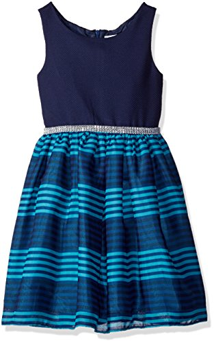Striped Woven Skirt (Bloome Big Girls' Sleeveless Knit To Striped Woven Occasion Dress With Rhinestone, Navy, 10)
