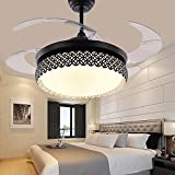 TiptonLight Black Retractable Ceiling Fans 42 Inch Led Ceiling Fan Lights with Remote Control Finished With Three Change Colors-White Light,Warm Light,Natural Light