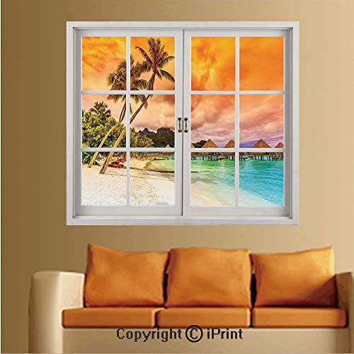 RWNFA Removable and Stick Wallpaper,Home Decor,Wallpaper/Removable Modern Decorating Wall Art,W36 xL48,Mountain Beach and Palm Trees Golden Clouds at Sunset Romantic View Image