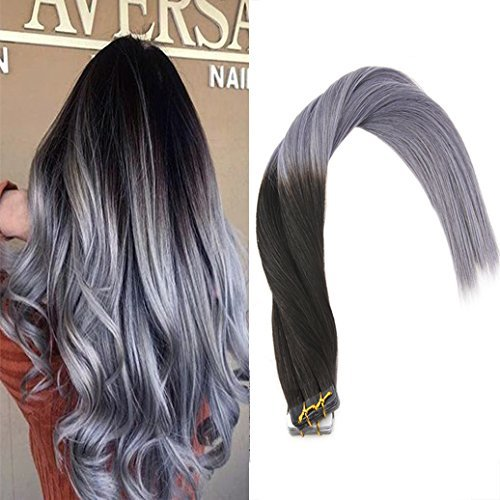 VeSunny 14inch Tape in Hair Extensions Remy Human Hair Ombre Natural Black to Blue Grey Seamless Tape in Hair Extensions Remy Human Hair