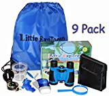 Kids binoculars Set Little Explorers 9 Pack for outdoor exploration Kit for camping or fishing with magnifying glass compass and flashlight Educational toys and Pretend play