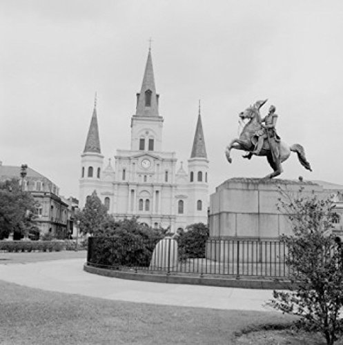 Jackson Square Statue - USA Louisiana New Orleans Jackson Square Statue of Andrew Jackson near St James Cathedral Poster Print (18 x 24)