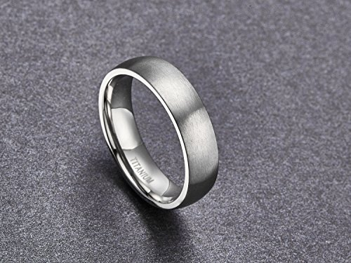 6mm Unisex Tungsten / Titanium Ring Brushed Dome Wedding Bands Comfort Fit Size 4-15 (Titanium, 10)
