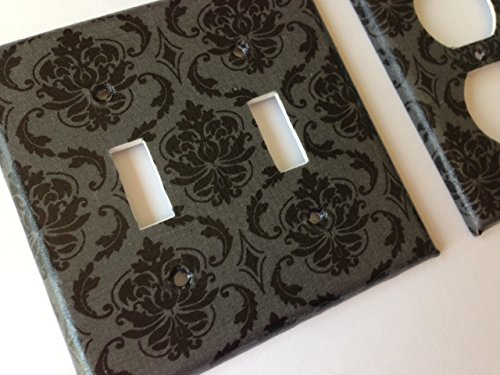 Black And Grey Damask Light Switch Plate Cover - Various Size Light Switchplates (Damask Switchplate)