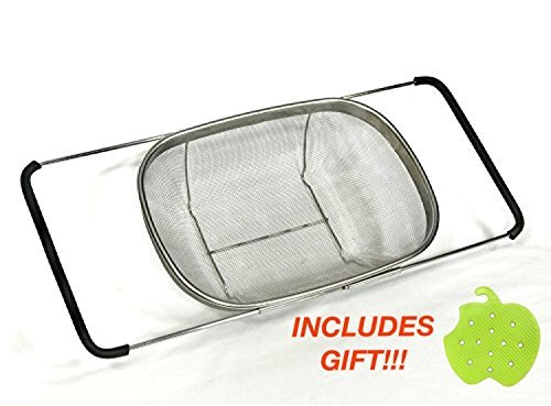 Over the Sink Stainless Steel Strainer Colander : Expandable, Heavy Duty, Durable / 14