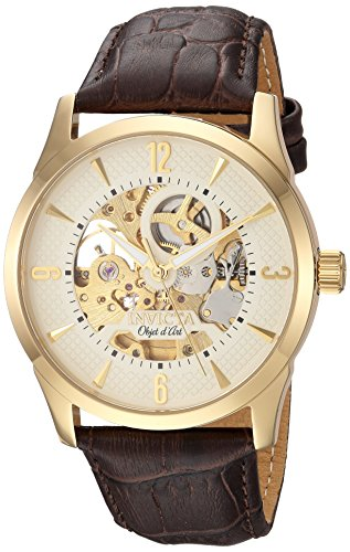 Invicta Men's Objet D Art Automatic-self-Wind Watch with Leather Calfskin Strap, Brown, 24 (Model: 22636)