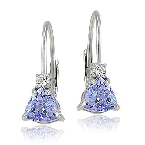Sterling Silver Tanzanite & White Topaz Trillion-Cut Leverback Drop Earrings