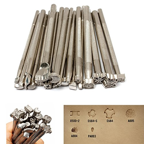 20pcs Leather Stamping Tools Leather Working Saddle Making Stamps Set Leather Craft Stamping Tools