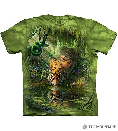 The Mountain Enchanted Tiger Adult T-Shirt, Green, XL