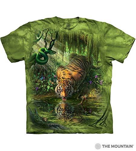 The Mountain Enchanted Tiger Adult T-Shirt, Green, Medium ()