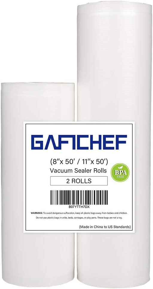 "Vacuum Sealer Bags GAFICHEF 2 Rolls - 11"" x 50' and 8"" x 50' Food Storage Saver Commercial Grade Seal Bags for Foodsaver & Sous Vide BPA Free"