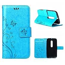 MOONCASE Moto G (3rd Gen) G3 Wallet Case Flower Pattern Premium PU Leather Case for Motorola Moto G (3rd Generation) Bookstyle Soft TPU [Shock Absorbent] Flip Bracket Cover Blue