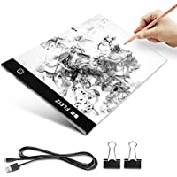 Elfeland A4 Ultra-thin Portable LED Light Box Light Table Tracer USB Power Cable Dimmable Brightness Artcraft Tracing Light Pad Smart Memory Drawing Table Light Board for Gift Artists Drawing Sketch
