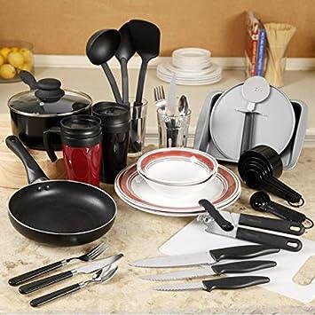 home essential total kitchen 83 piece combo set appliance package sets dorm brick 50 pcs