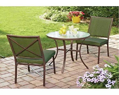Mainstays STS326Z-GREEN Crossman 3-Piece Durable Powder-Coated Steel Table Frame Outdoor Bistro Set, Green, Seats 2
