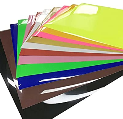 "levylisa 11-Sheets 10""x10"" Ultra PU Permanent HTV Heat Transfer Vinyl Flex Adhesive Backed Assorted Colors White Black Gold Silver Red Pink Brown Blue Neon Yellow Green Craft Projects"
