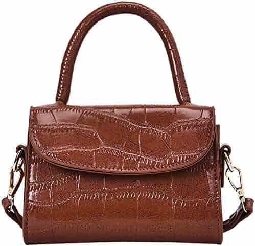 a38fca995019 QZUnique Women s PU Leather Handbag Stone Pattern Crossbody Magnet Buckle  Closure Square Top-Handle Shoulder