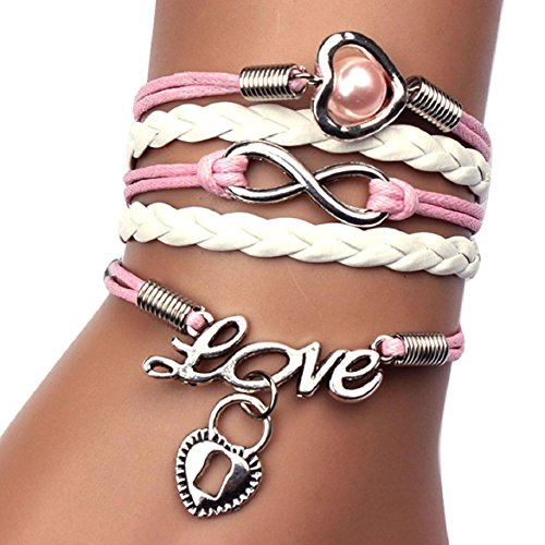 SusenstoneInfinity Pearl Heart Lock Friendship Leather Charm Bracelet