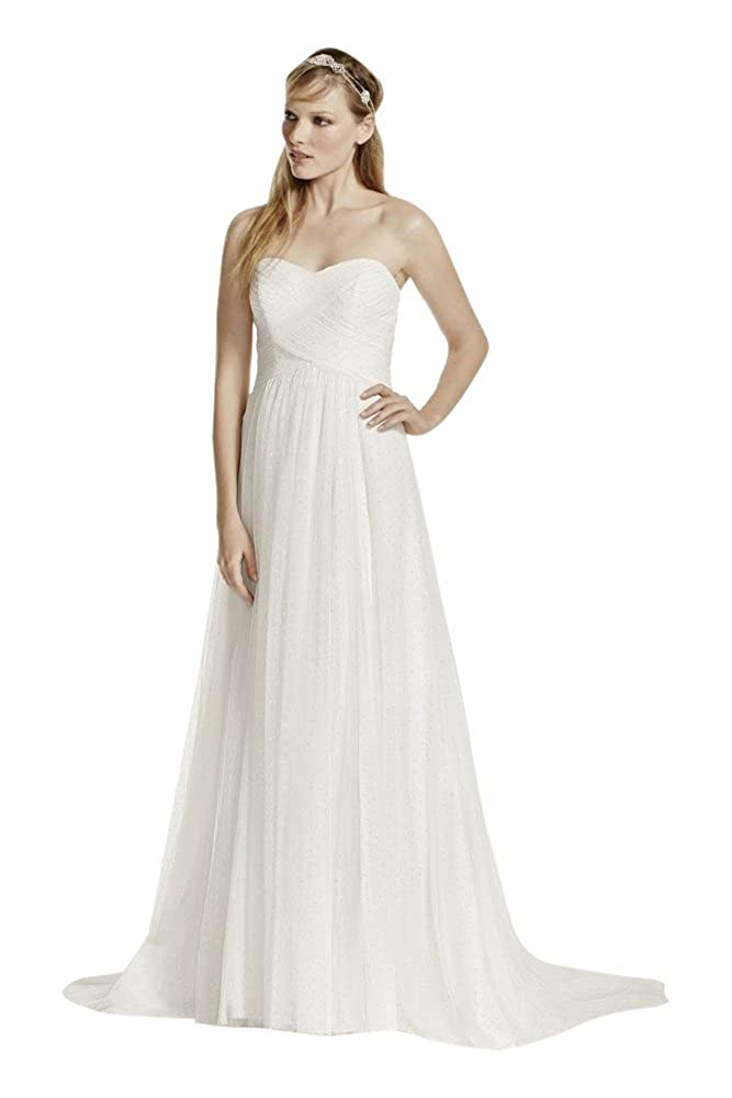 Swiss Dot Tulle Empire Waist Soft Wedding Gown Style WG3438 at ...