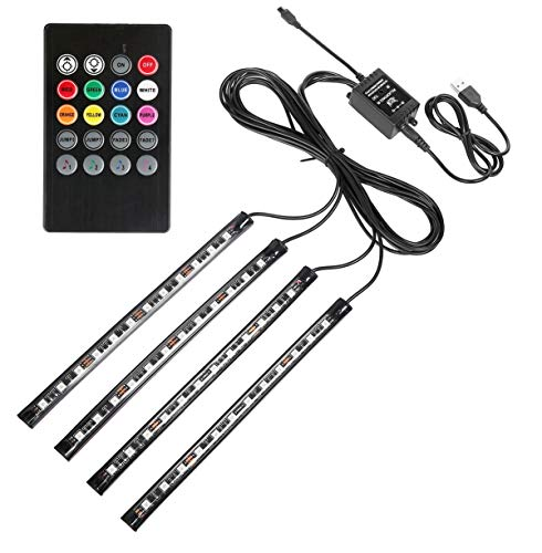 (Car LED Strip Lights, Guaiboshi 4PCS 48leds USB Powered Atmosphere Lights/Interior Lights for Car with Music Sound Active, Remote Included)