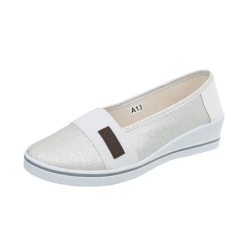 Ital-Design Mocasines de Material Sintético Para Mujer, Color Plateado, Talla 40 EU: Amazon.es: Zapatos y complementos