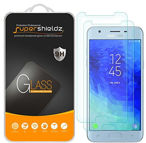 [2-Pack] Supershieldz for Samsung Galaxy J3 (2018) Tempered Glass Screen Protector, Anti-Scratch, Bubble Free, Lifetime Replacement Warranty
