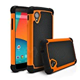 Nexus 5 Case, MagicMobile [Dual Armor Series] Hybrid Impact Resistant Nexus 5 Shockproof Tough Case (Rugged Hard Plastic) + (Rubber Silicone) Skin Protective Case for LG Nexus 5 - Black / Orange