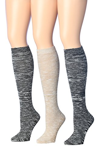 Tipi Toe Women's 3-Pairs Ribbed Cable Cozy Winter Super Soft Warm Knee High Cotton-Blend Boot Socks, (sock size 9-11) Fits shoe size 6-9, (Cozy Cable)