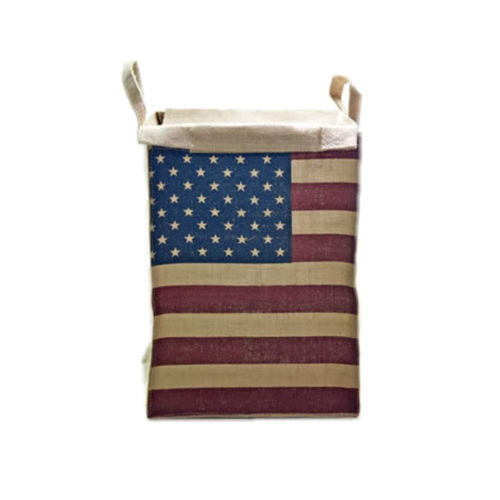 Handmade houseware Fashion Zakka Vintage Jute Fabric Large Square Storage Box New Home Decor Cotton Linen Water Proof Organization Barrel Collapsible Open Laundry Dirty Clothes Hamper (America Flag)