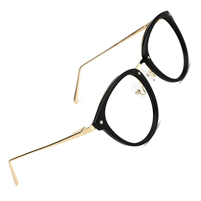 c4a6bbe28d6 TIJN Round Optical Eyewear Non-prescription Eyeglasses Frame Vintage  Eyeglasses Clear Lens for Women and Men  Amazon.co.uk  Clothing