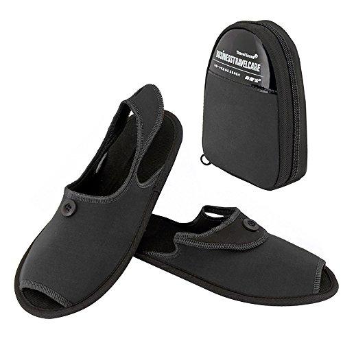 TRAVELMALL Unisex portátil plegable Zapatillas viaje antideslizante zapatillas zapatos de playa plegable con almacenamiento bolsa de transporte, tela, azul, large Negro