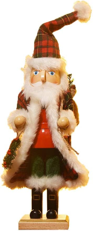 Funpeny Wooden Santa Traditional Christmas Nutcracker in Flannel Ful Trimmed Lattice Coat, Festive Christmas Decor, 14 Inch