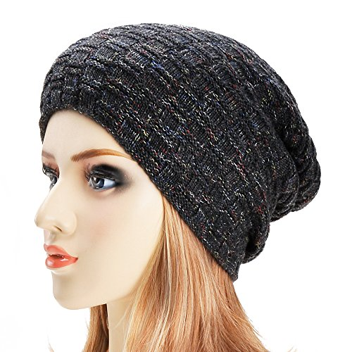 Unisex Trendy Double Layers Reversible Warm Oversized Cable Knit Slouchy Beanie (Black (Cable Knit Reversible Hat)