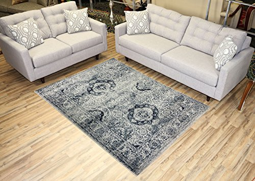 - Studio Collection Vintage French Aubusson Design Contemporary Modern Area Rug Rugs 3 Different Color Options (Aubusson Ivory / Navy, 5 x 7)