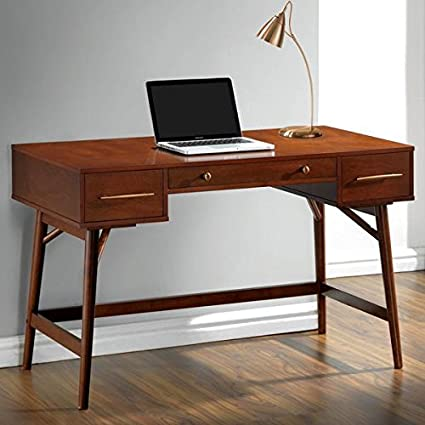 Marvelous Mid Century Modern Design Home Office Writing/Computer Desk With Drawers  Walnut Finish Wood