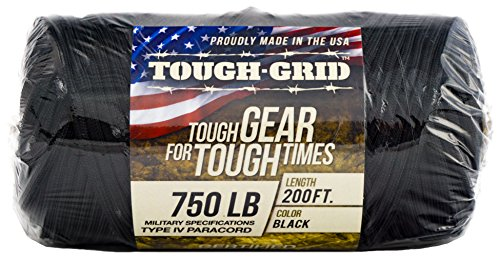 TOUGH-GRID 750lb Black Paracord/Parachute Cord - Genuine Mil Spec Type IV 750lb Paracord Used by The US Military (MIl-C-5040-H) - 100% Nylon - Made in The USA. 500Ft. - Black by TOUGH-GRID (Image #8)