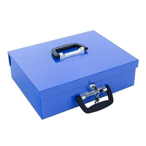 d0ebebcc5b profirst Dori cassetta PORTAVALORI Blu in lamiera d' acciaio di SM, con  maniglia,